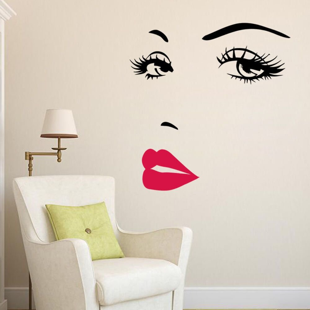 Best Marilyn Monroe Face Eyes S*Xy Red Lip Home Decor Wall Sticker Decals Art Mural Ebay With Pictures