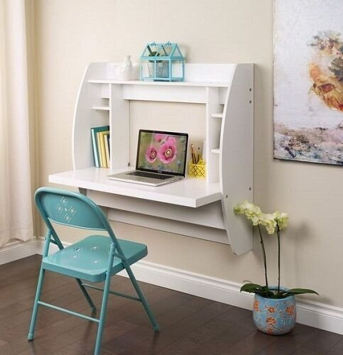 Best Computer Desk W Storage Office Furniture Bedroom Floating White Wall Table New Ebay With Pictures