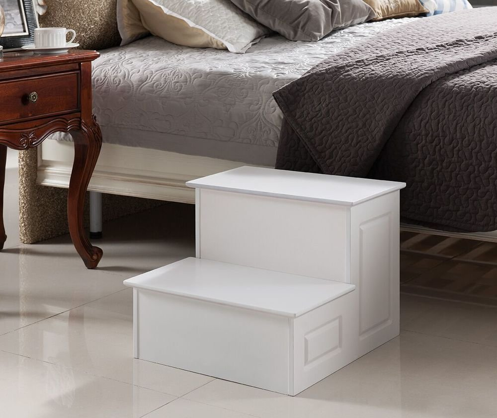 Best Kings Brand Large Wood Bedroom Step Stool White Finish With Pictures