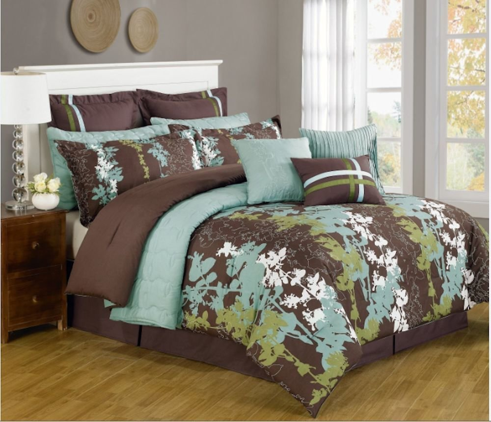 Best 12 Pc Teal Green Brown White Floral Print Comforter With Pictures