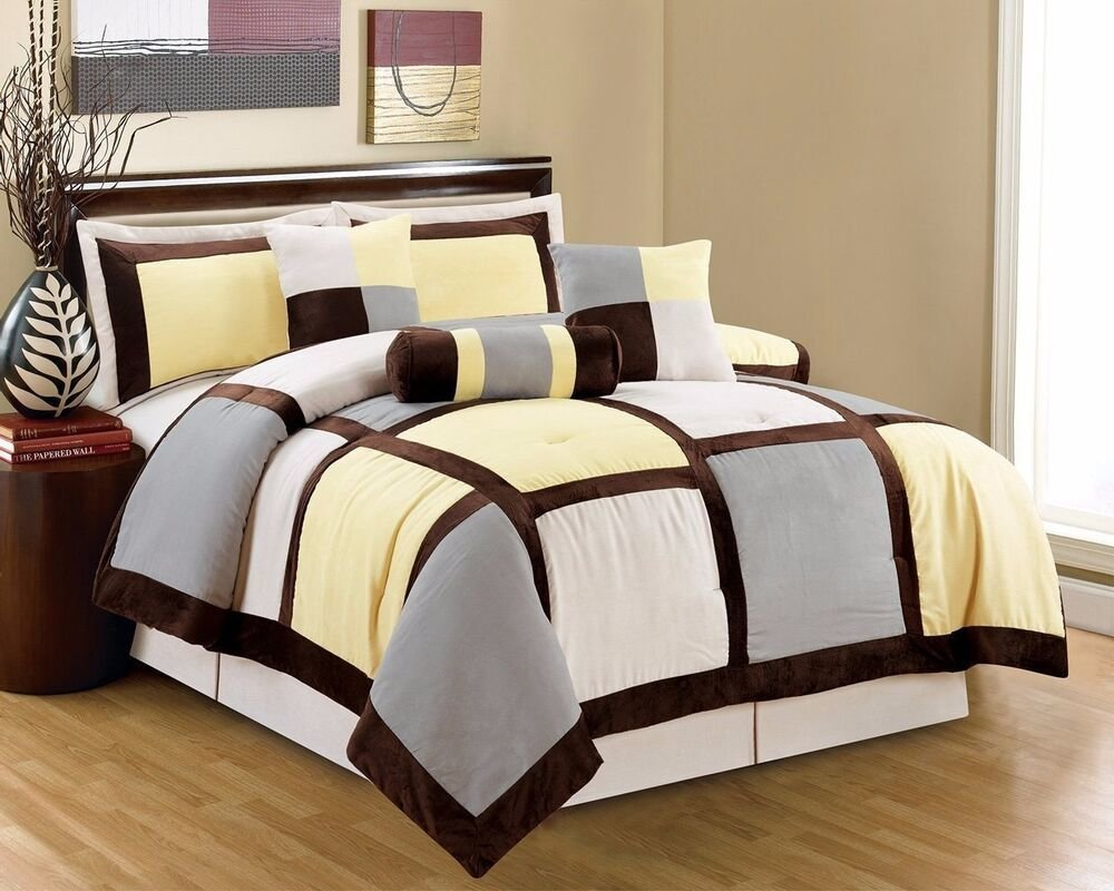 Best 7 Piece Queen Yellow Brown Gray Micro Suede Patchwork With Pictures
