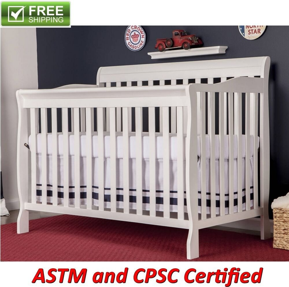 Best Convertible Baby Bed 5 In 1 Full Size Crib White Nursery Bedroom Furniture New Ebay With Pictures