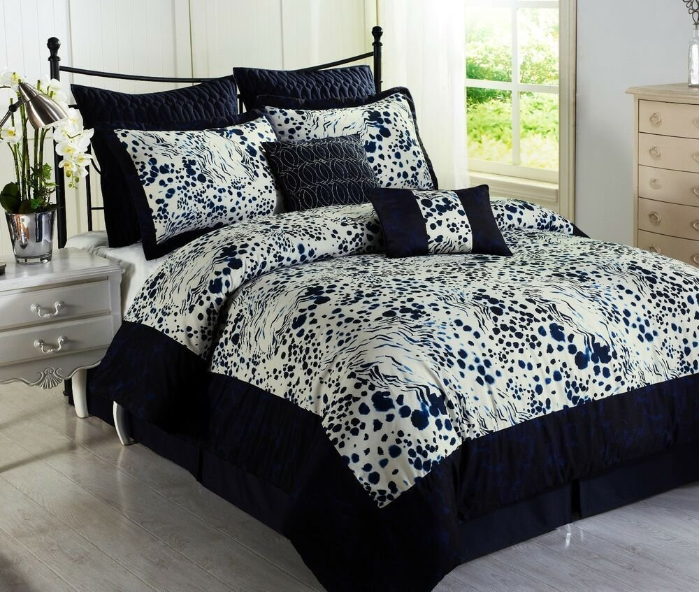 Best Splash Blue 8Pc Comforter Set Animal Print Navy White With Pictures