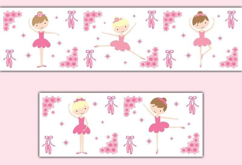 Best Pink Ballerina Wallpaper Border Wall Decals Baby Girl With Pictures
