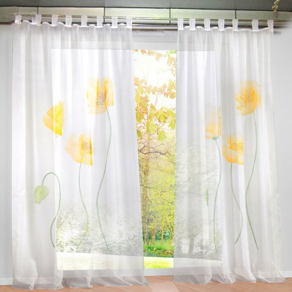 Best 1Pcs Sheer Window Curtain Floral Blackout Curtains Drapes With Pictures