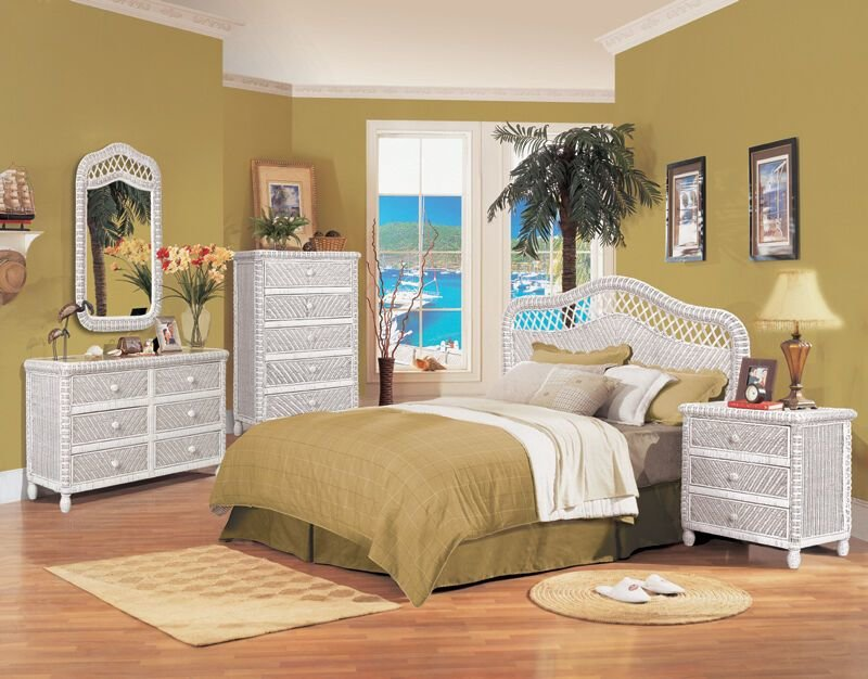 Best B579 White Santa Cruz Wicker And Rattan Bedroom 4 Pc Set From Seawinds Trading Ebay With Pictures