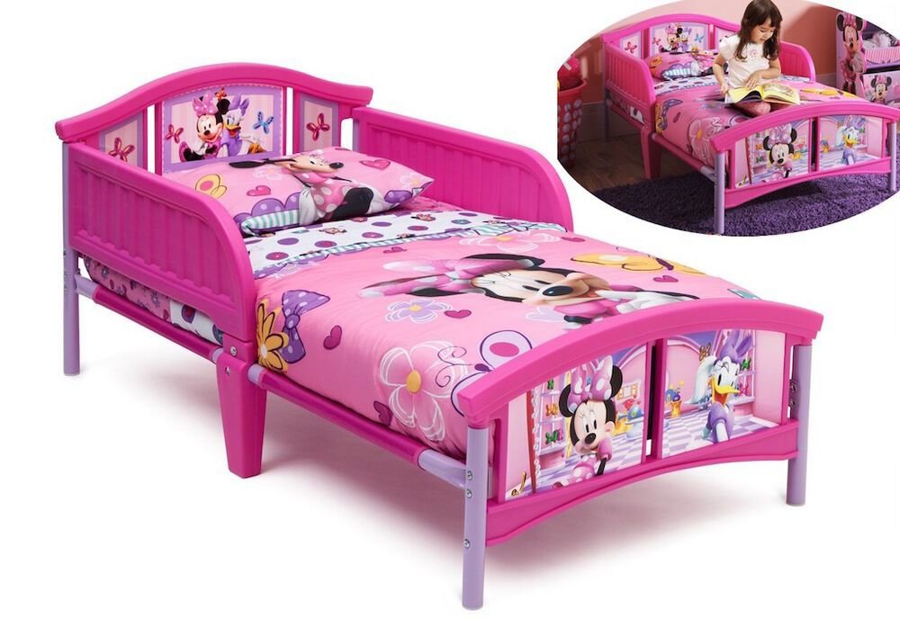 Best Pink Minnie Mouse Toddler Bed Bedroom Furniture Kids Girls Disney Safety Rails A Ebay With Pictures
