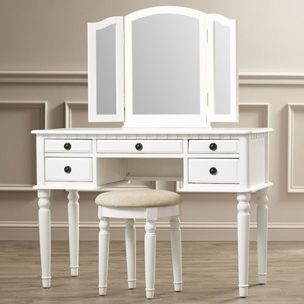 Best Vanity Set With Mirror Stool Seat White Bedroom Makeup Vintage Dresser Table Ebay With Pictures
