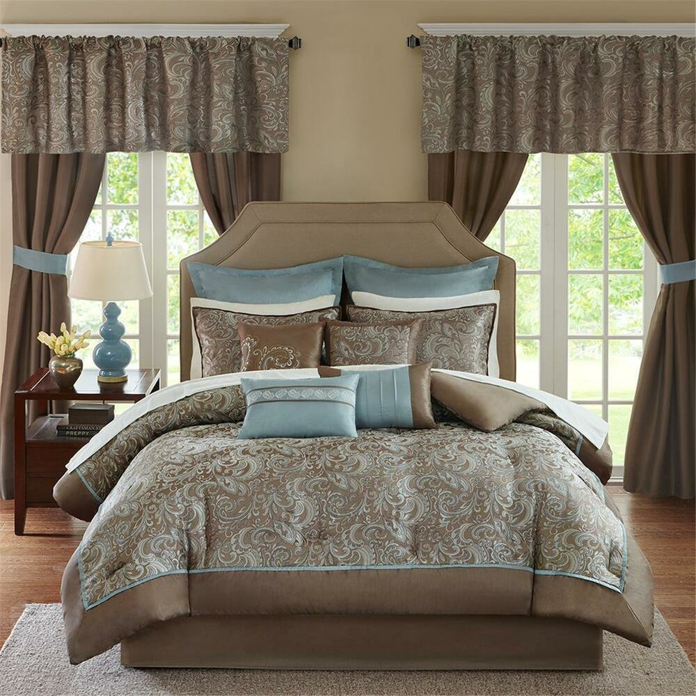 Best Deluxe Taupe Blue Paisley Comforter Window Curtains 24 Pcs With Pictures