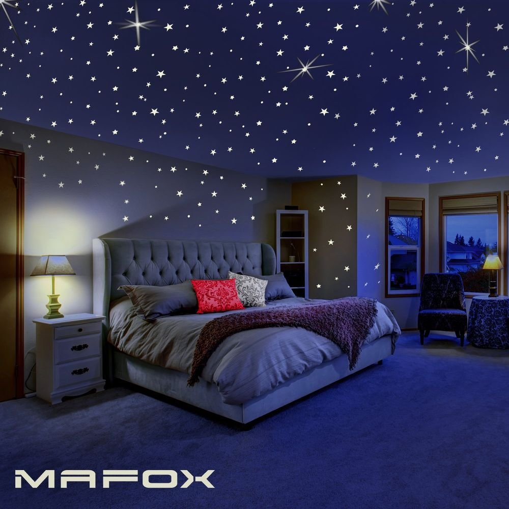 Best Glow Dark Wall And Ceiling Stars Stickers Decor Bedroom With Pictures