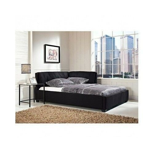 Best Full Size Daybed Tufted Lounge Reversible Bed Modern Black With Pictures
