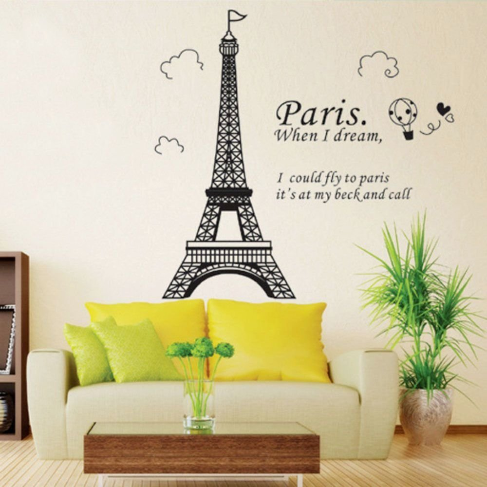 Best Home Decor Romantic Art Paris Ballon Wall Sticker With Pictures