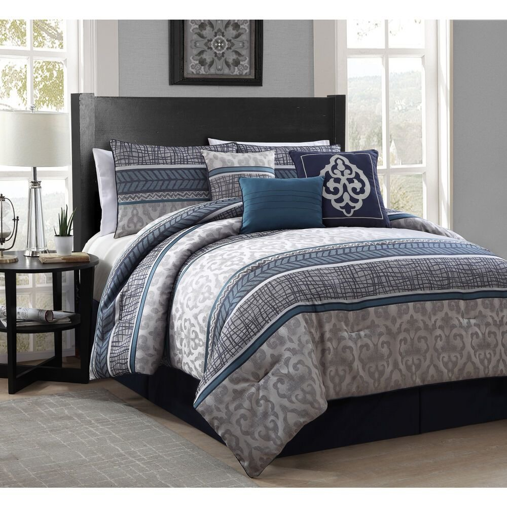 Best Simon 7 Piece Polyester Comforter Set Ebay With Pictures