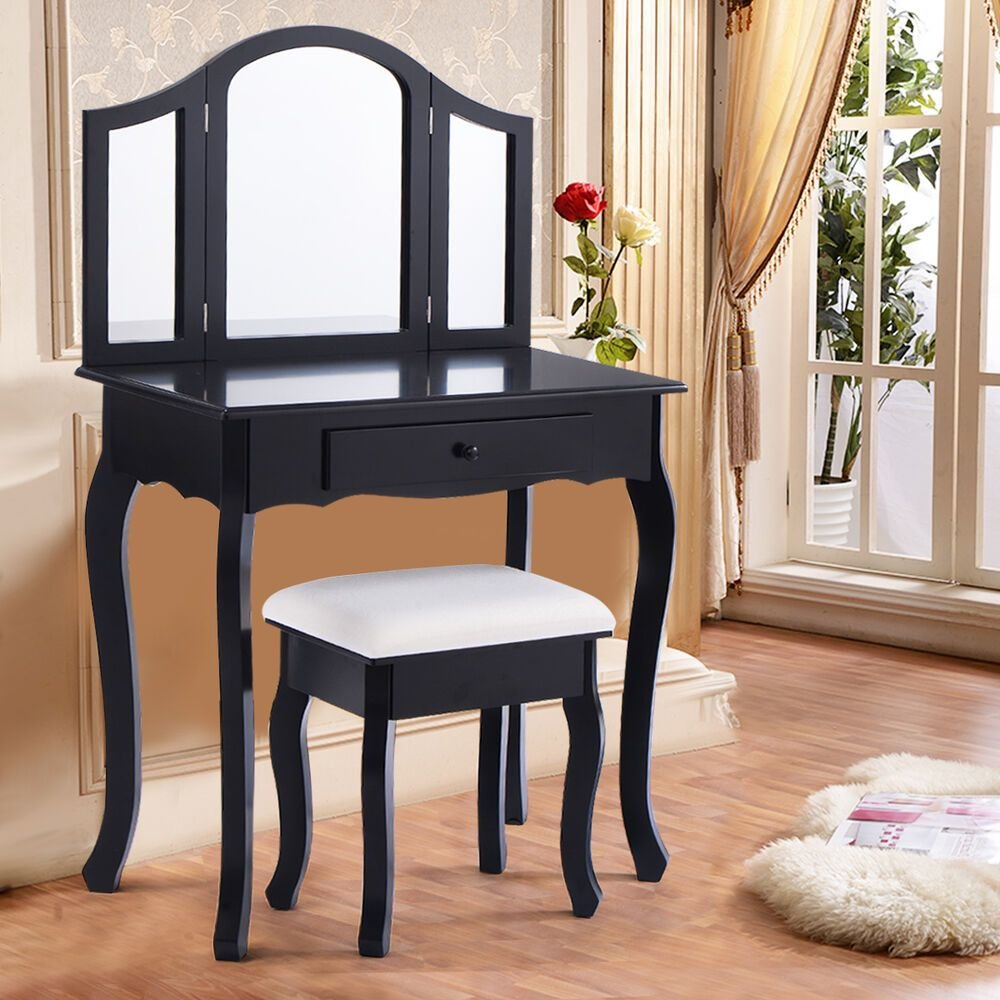 Best Black Tri Folding Mirror Vanity Makeup Table Set Bedroom W Stool Drawer Ebay With Pictures
