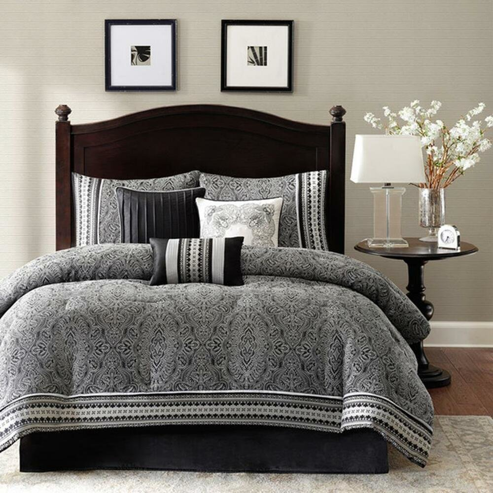 Best Polyester Jacquard 7 Piece Comforter Set Damask Pattern With Pictures