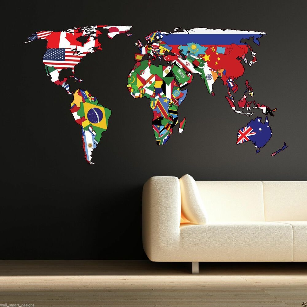 Best Full Colour World Map Atlas Office Bedroom Wall Art With Pictures