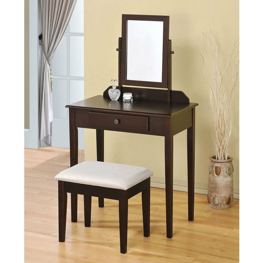 Best Jamy Bedroom Vanity Makeup Table Mirror Bench Set Storage With Pictures
