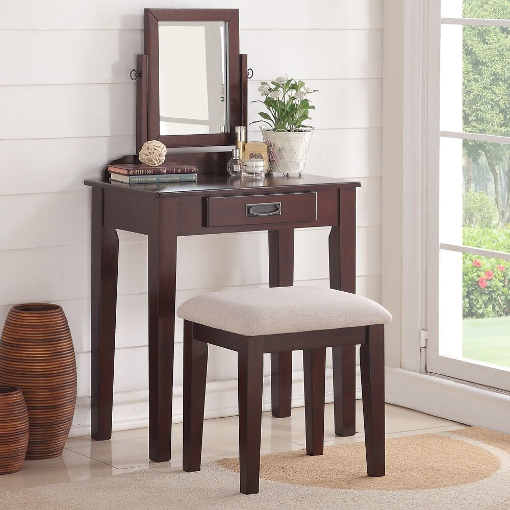 Best Bedroom Small Vanity Makeup Table Mirror Bench Storage Drawer Wood Espresso Ebay With Pictures