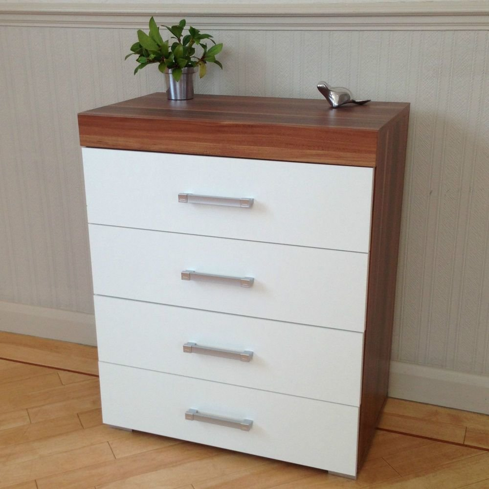 Best Chest Of 4 Drawers In White Walnut Bedroom Furniture With Pictures