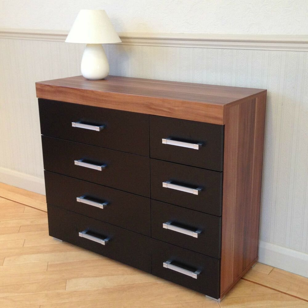 Best Wide Chest Of 4 4 Drawers In Black Walnut Bedroom With Pictures