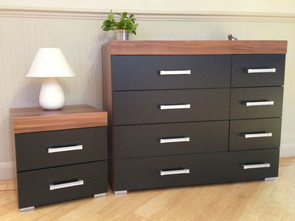 Best Black Walnut 4 4 Drawer Chest 2 Drawer Bedside Cabinet With Pictures
