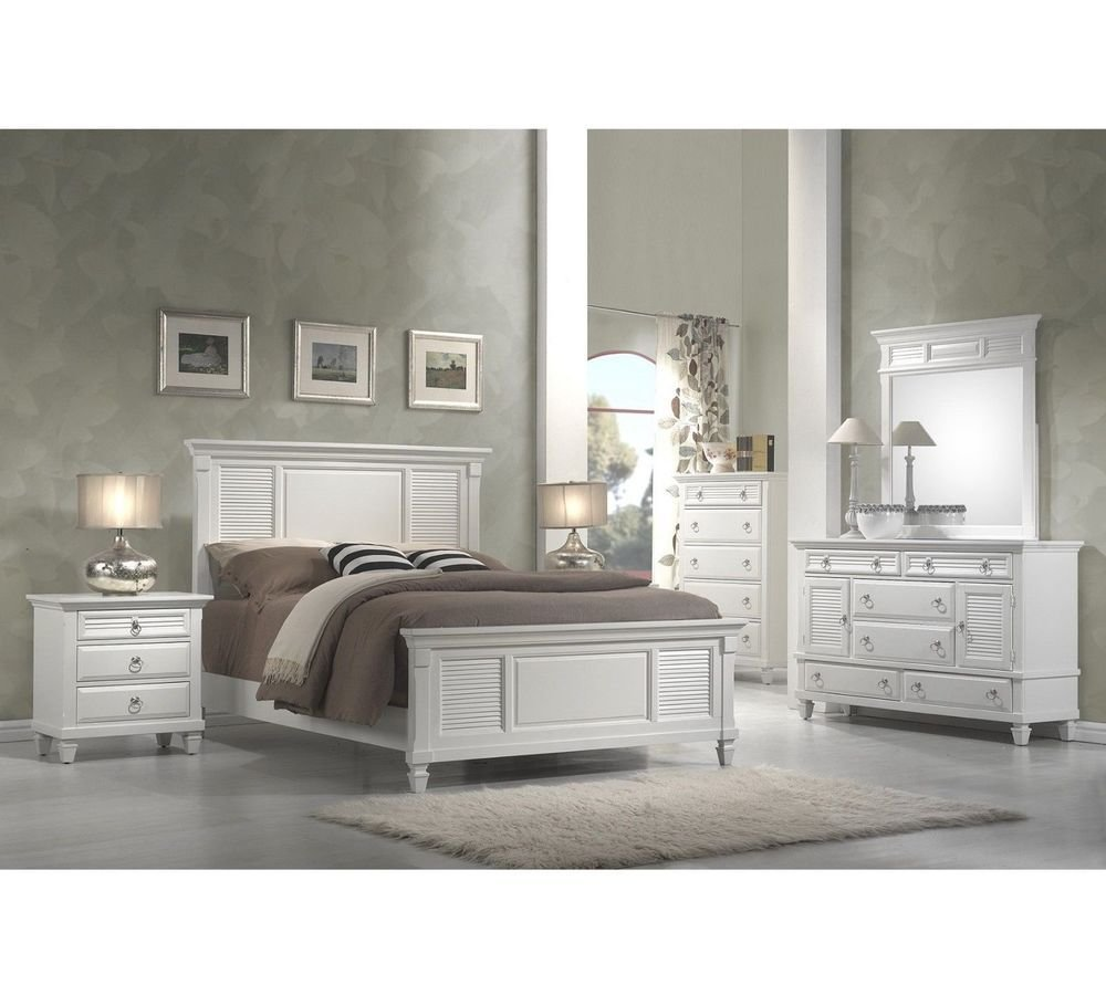 Best White Bedroom Collection King Queen Panel Bed Set Wood With Pictures