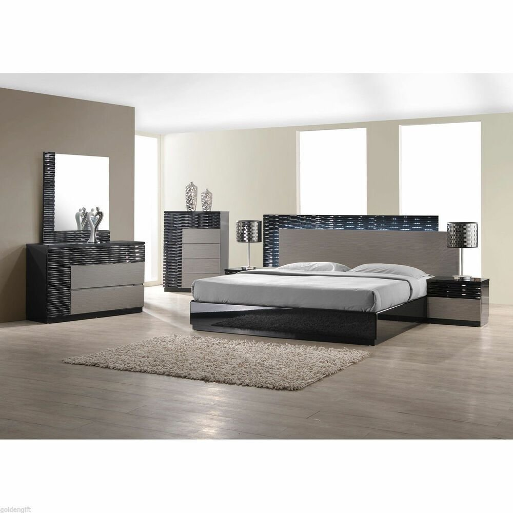 Best Modern King Size Bed Platform Frame W Led Lighting With Pictures