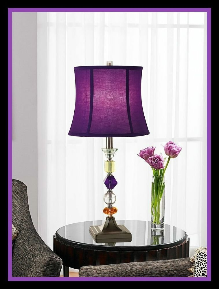 Best Purple End Table Floor Lamp Crystal Accent Dorm Room With Pictures