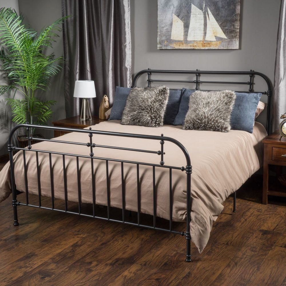 Best Bedroom Furniture Iron Metal King Size Bed In Charcoal Ebay With Pictures