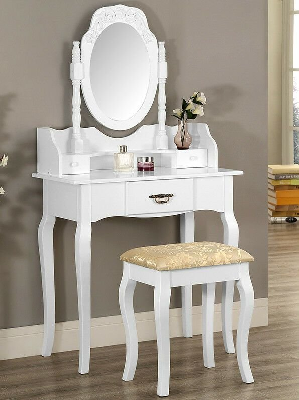 Best White Or Black Dressing Table Set With Stool And Oval With Pictures