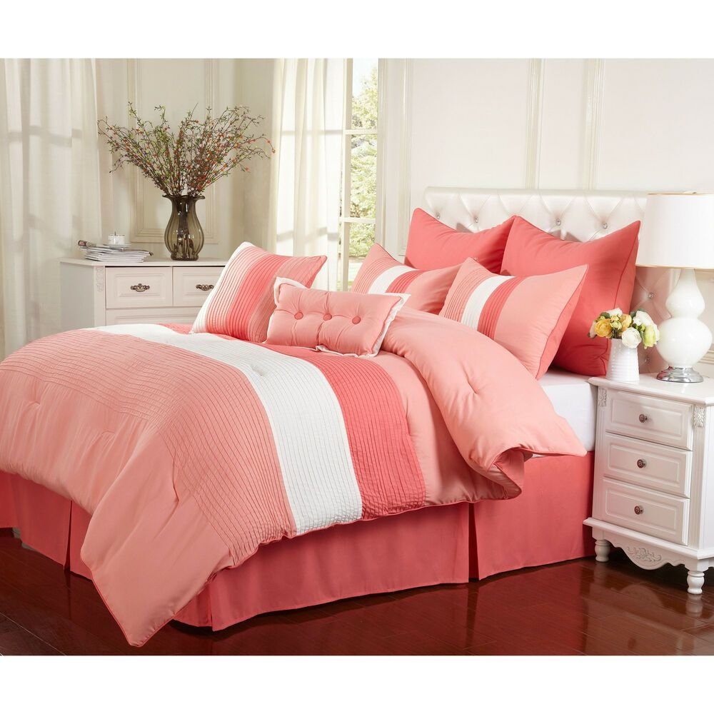 Best Superior Florence Coral 8 Piece Comforter Set Ebay With Pictures