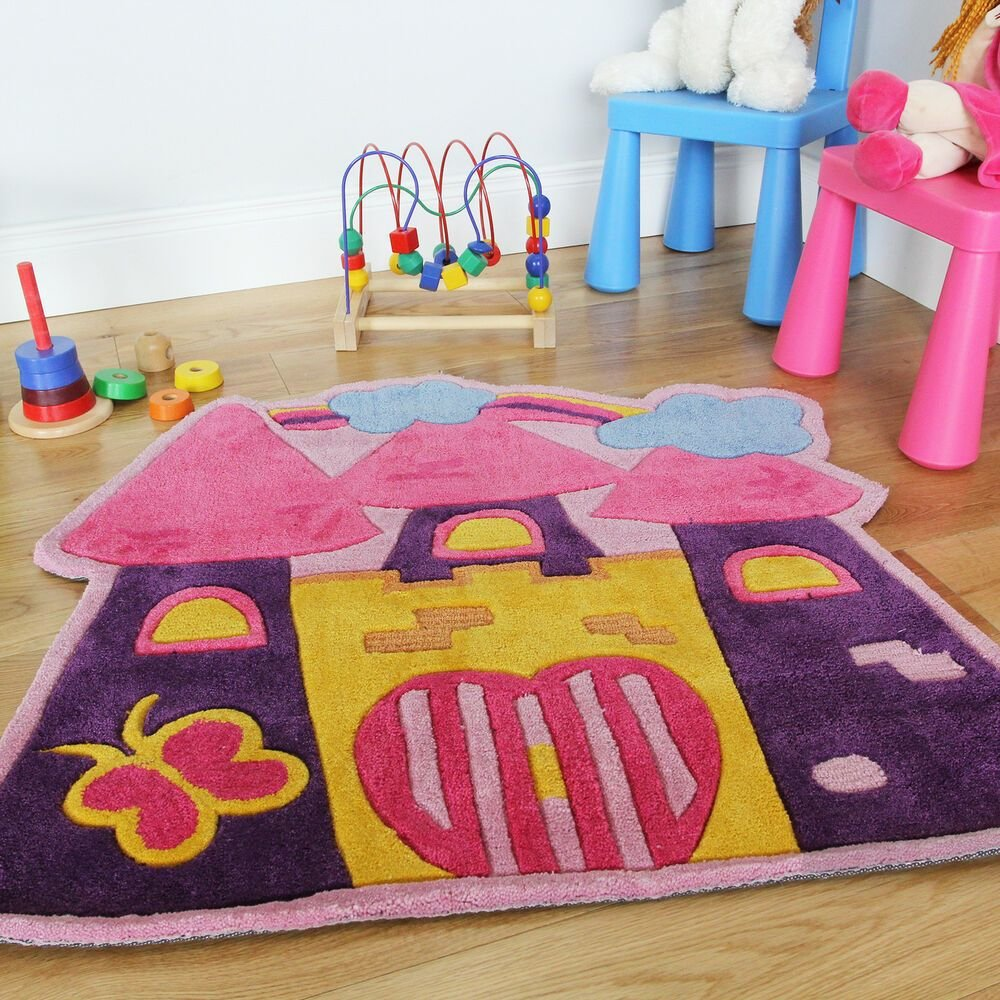 Best Girls Pink Fairytale Castle Childrens Bedroom Rug Soft Easy Clean Playroom Mats Ebay With Pictures