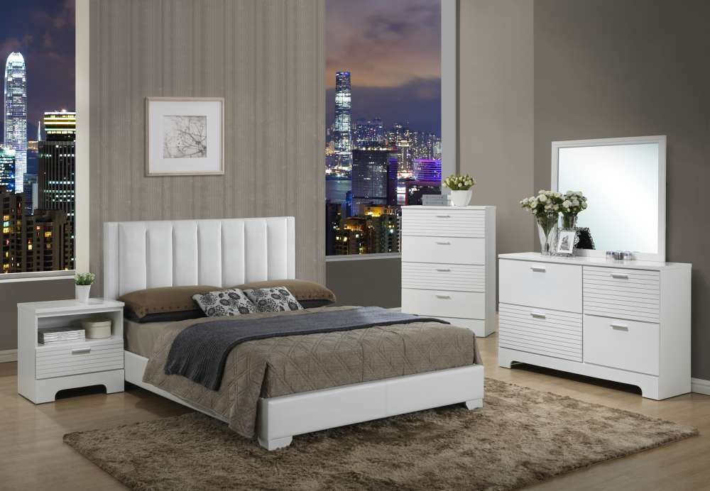 Best Modern White Bedroom Set With Upholstered Bed King Ebay With Pictures
