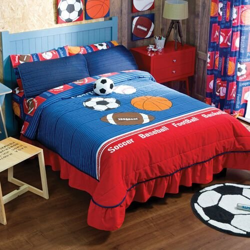 Best New Red Blue Boys Girls Sports Soccer Football Basketball Bedspread Bedding Set Ebay With Pictures