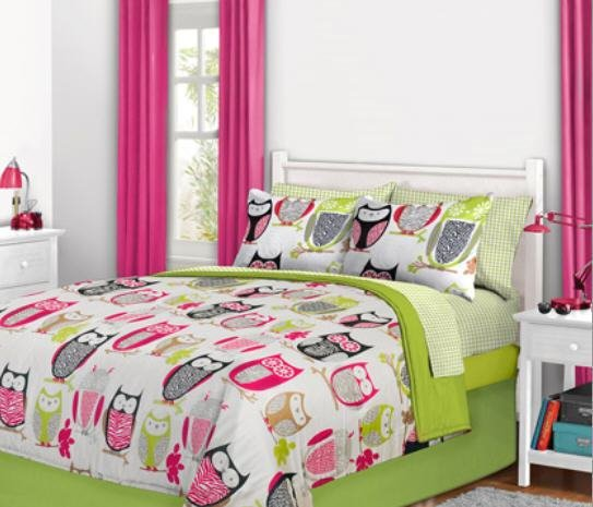 Best Nature Hoot Owl Girls Twin Single Comforter Set 6 Piece With Pictures