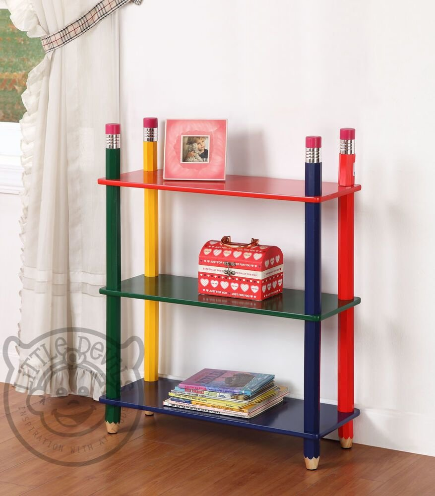 Best Pencil Themed Kids Shelving Unit Bookcase Childrens With Pictures