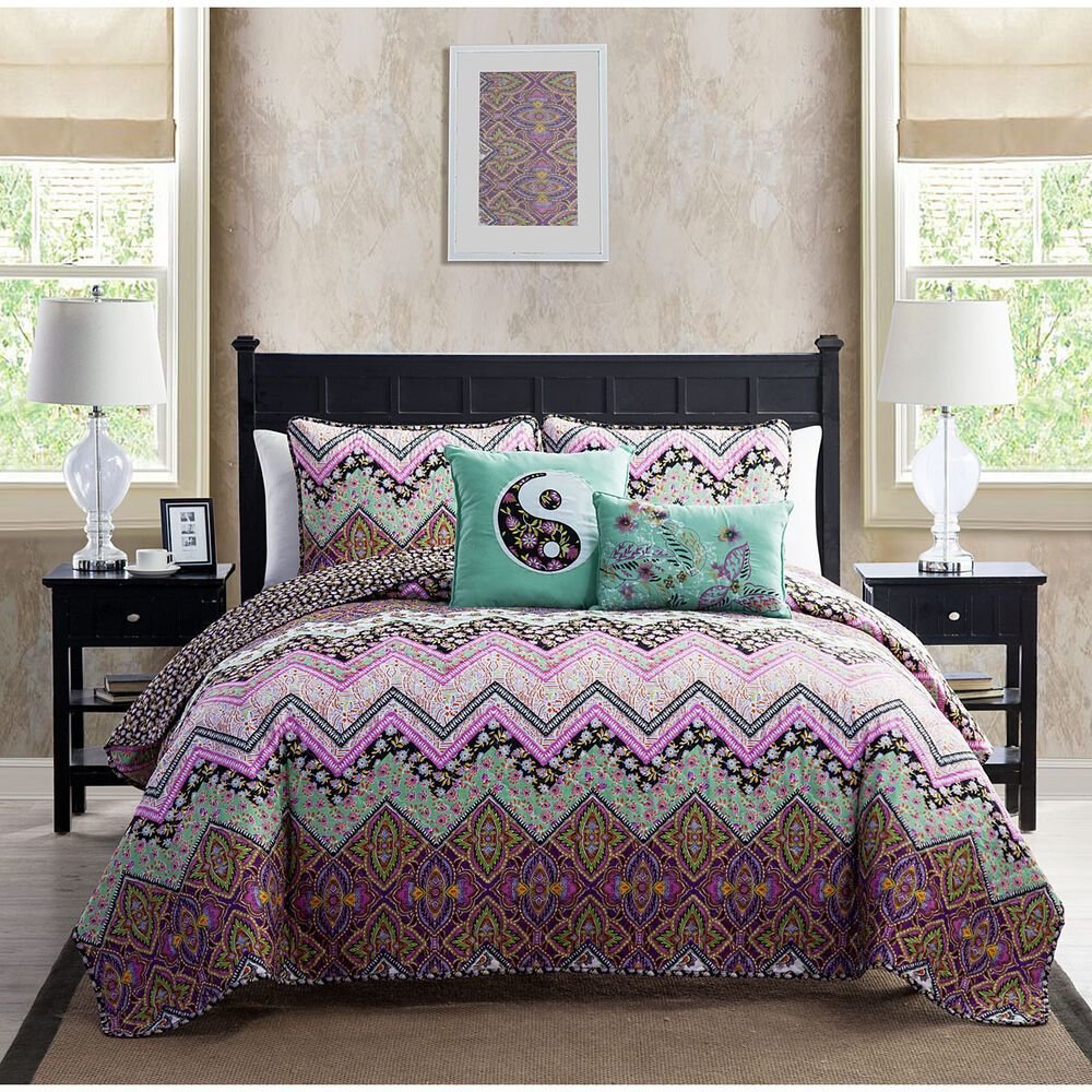 Best Twin 4 Pc Chevron Bedding Set Girls Purple Teal Floral With Pictures