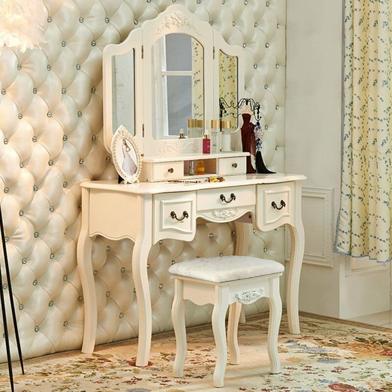 Best French Vintage White Wood Vanity Dressing Table Set Makeup With Pictures