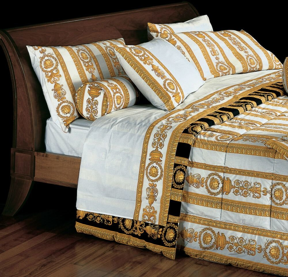 Best Versace Medusa King Size White Bed Sheet Set 4 Pieces With Pictures