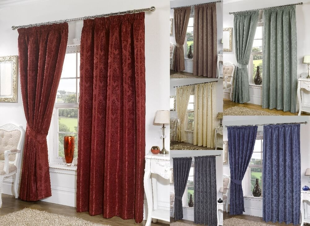 Best Seattle Plain Damask Print Tape Top Fully Lined Curtains With Pictures