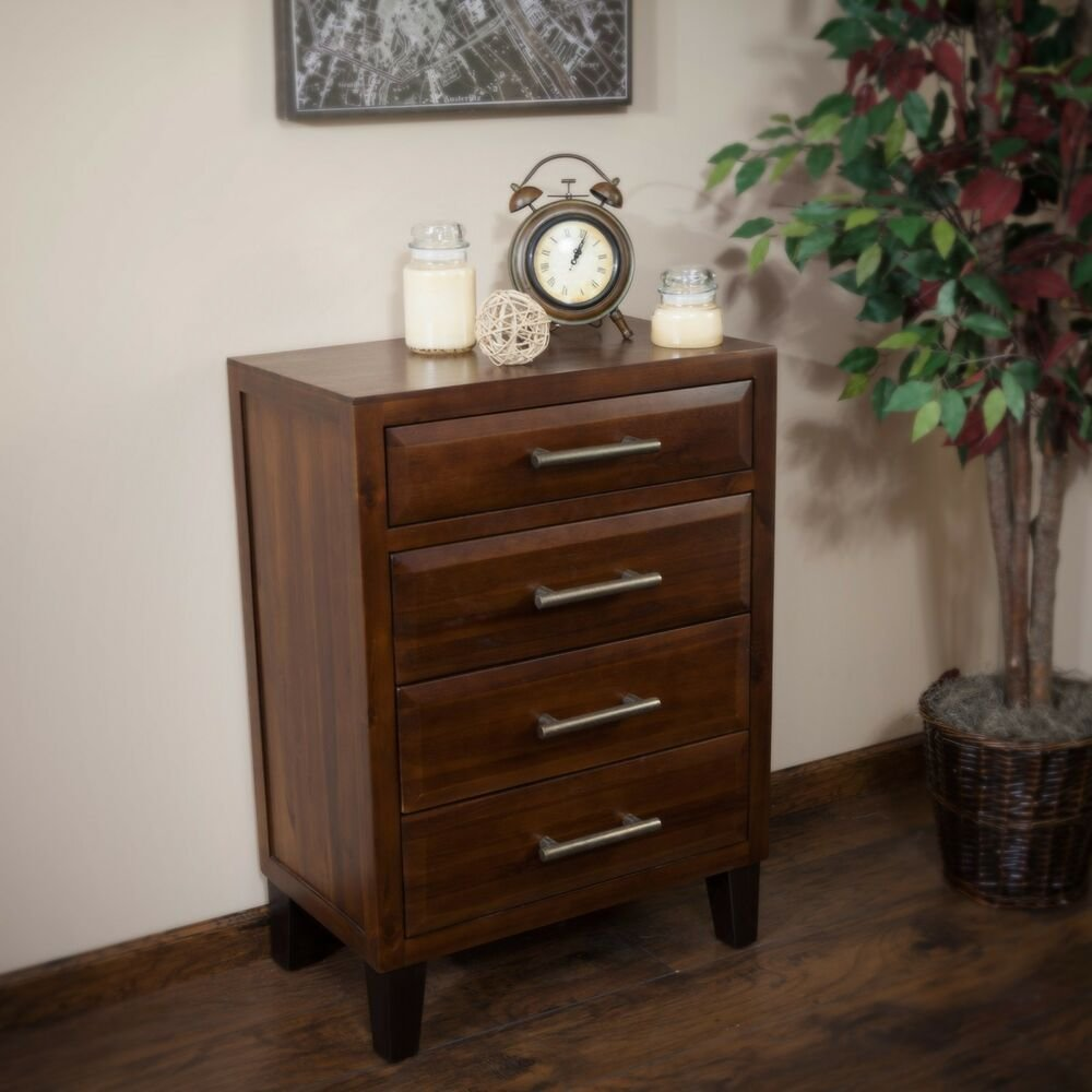 Best Bedroom Furniture Brown Mahogany Solid Wood Four Drawer Storage Chest Dresser Ebay With Pictures