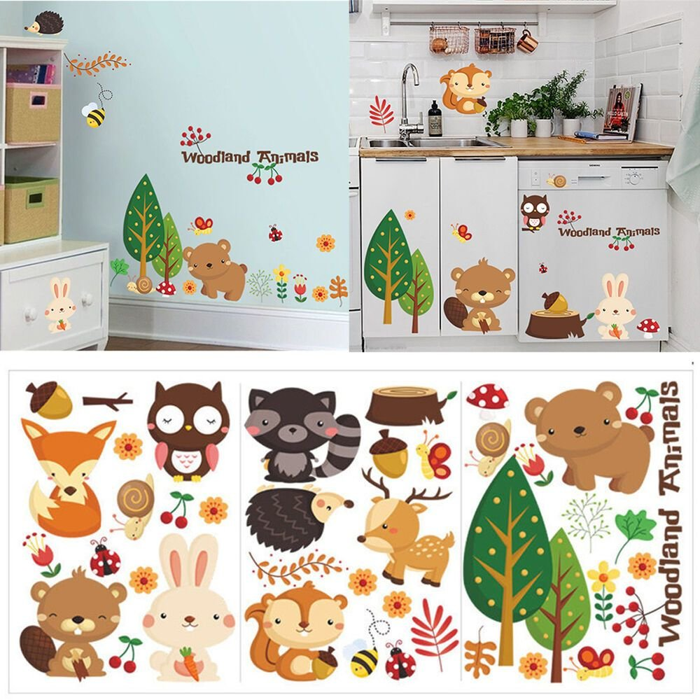 Best Removable Animals Vinyl Wall Stickers Mural Home Decor Kids Room Nursery Decal Ebay With Pictures