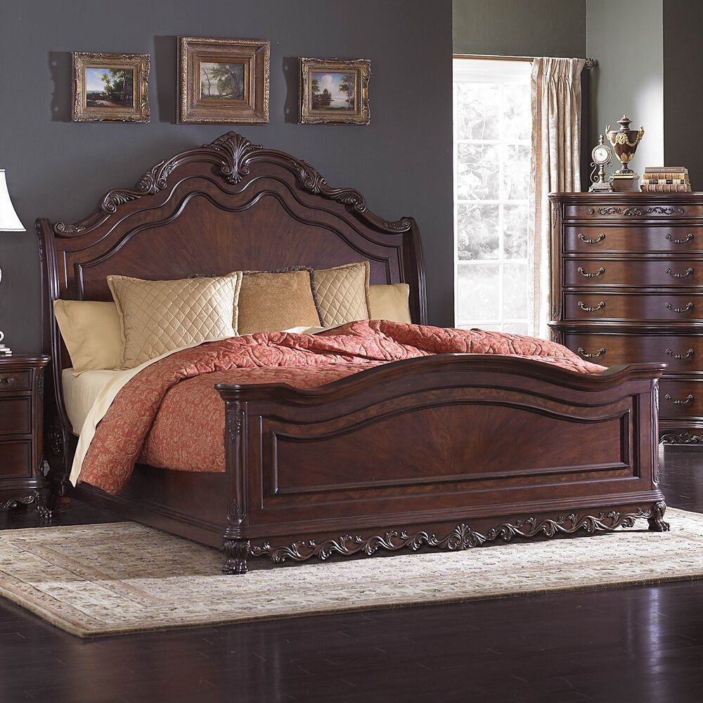 Best Beautiful Burl Inlay Queen Sleigh Bed Bedroom Furniture Ebay With Pictures