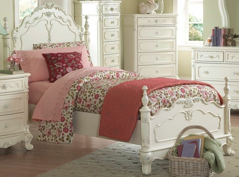 Best Dreamy Antique White Twin Youth Girl S Bed Bedroom Furniture Ebay With Pictures