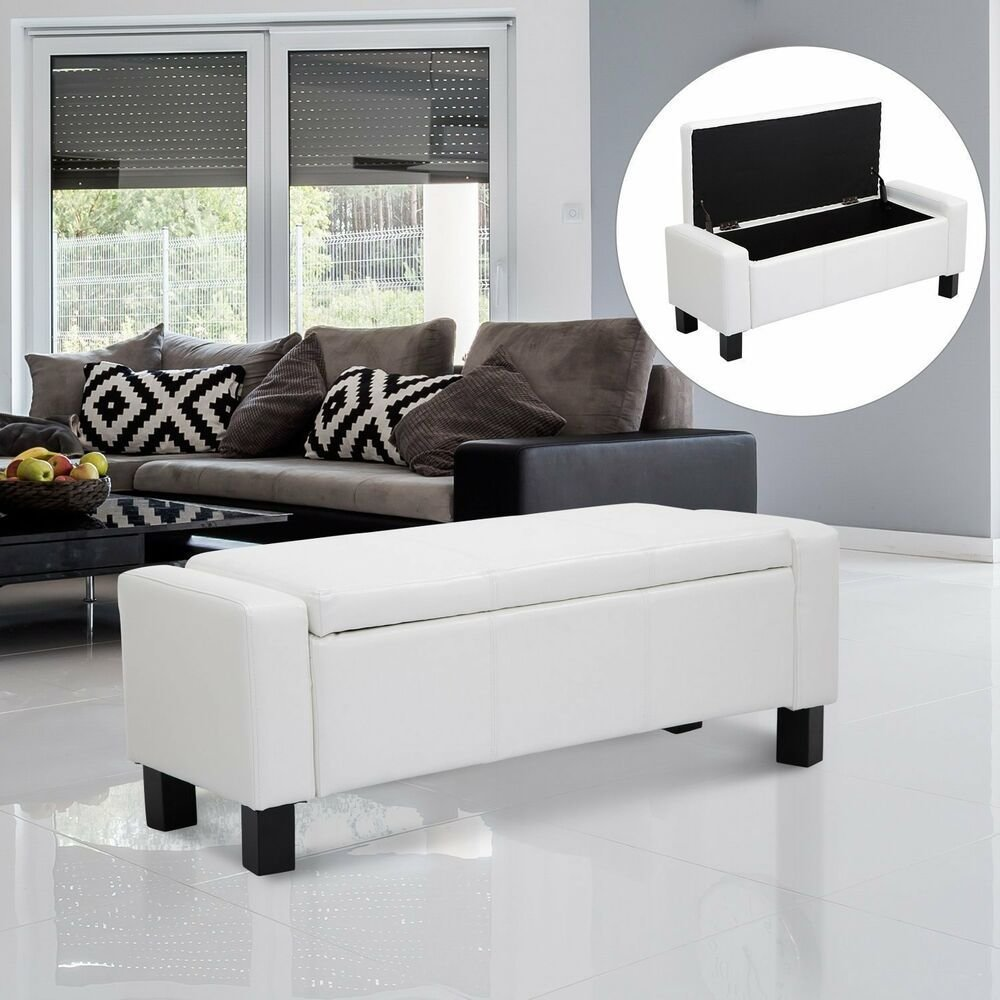 Best Homcom Bedroom Storage Bench Pu Leather Seat Ottoman With Pictures