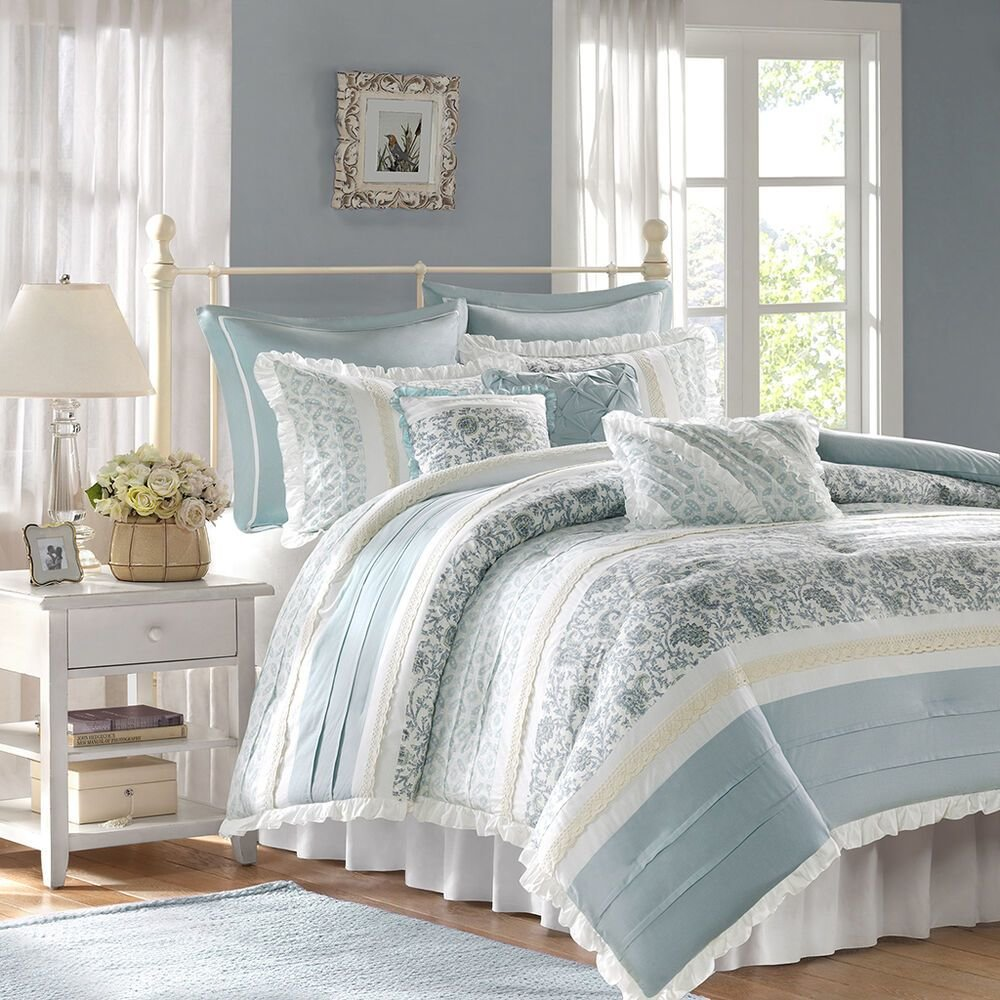 Best Chic Blue Lace 9Pc Queen Comforter Set French Cottage With Pictures
