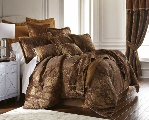 Best 6Pc Magnificent Asian Art Brown Gold Comforter Set Queen With Pictures