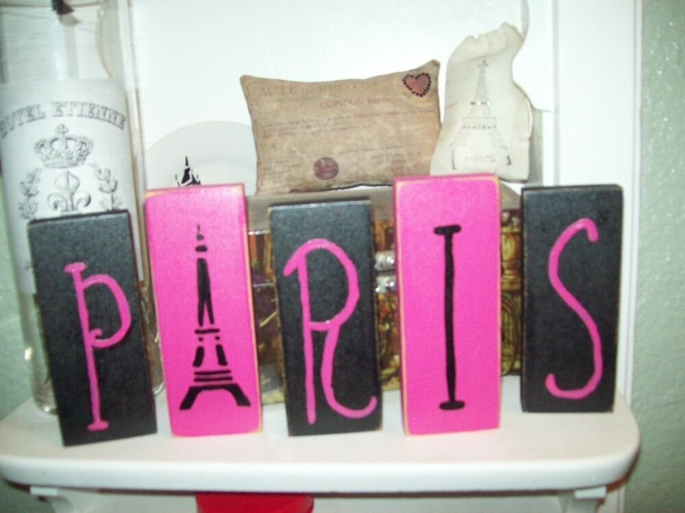 Best Shabby Paris Chic Decor Pink And Black Paris Blocks Sign With Pictures