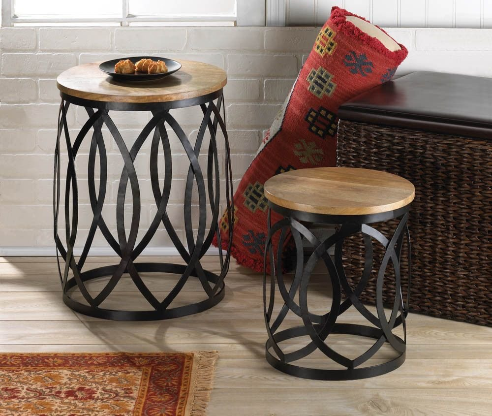 Best End Table Set Coffee Furniture Accent Round Wood Metal With Pictures