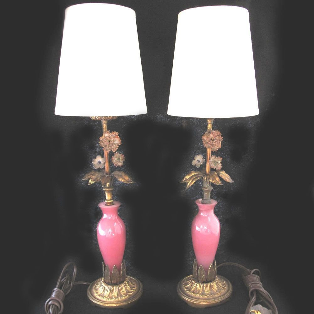 Best Vintage Murano Glass Boudoir Bedroom Lamps Decorative Pink Glass 1940S Pair Ebay With Pictures